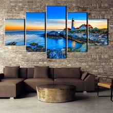 5 Piece Canvas Art Lighthouse In The Distance Painting Wall Picture Home Decoration Living Room