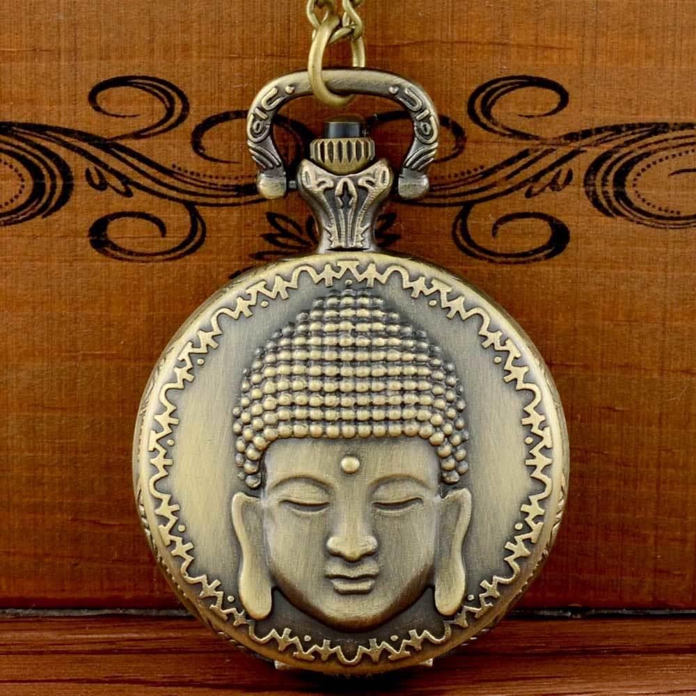 Retro Bronze Buddha Face Quartz Pocket Watch Chains Antique Men Pendant Necklace Clock  Gift