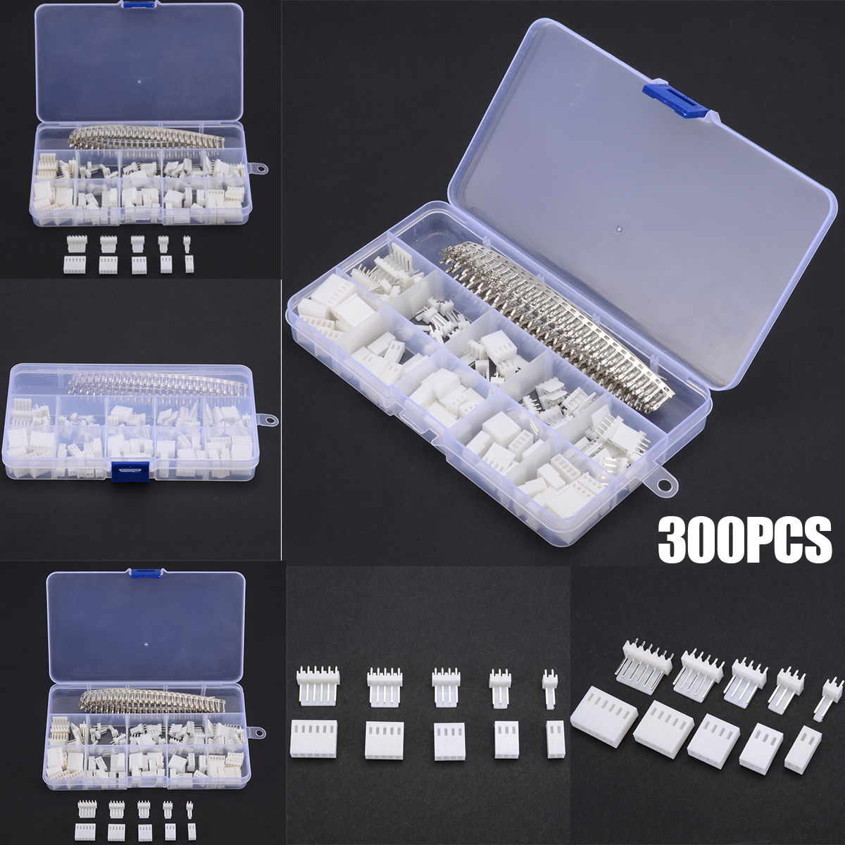 300pcs/set KF2510 2.54mm 2 3 4 5 <font><b>6</b></font> <font><b>Pin</b></font> White Wire Terminal <font><b>Pin</b></font> Female Terminal Housing <font><b>Header</b></font> Wire Connector image