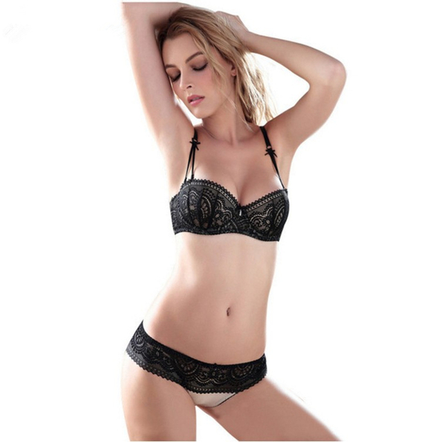 90fefa5f777 ABCD Cup Sexy Women Bra Set ultra-thin Lace Embroidery Push Up Bra Panty Set