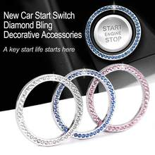 "40mm/1.57""Auto Car Bling Decorative Accessories Automobiles Start Switch Button Decorative Diamond Rhinestone Ring Circle Trims(China)"