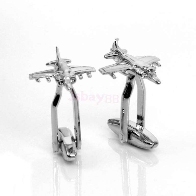 New style Novelty Men's Stainless Steel Mini Airplane Plane Cufflinks Cuff Links Popular fashion Simplicity Cufflinks image