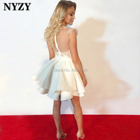 NYZY P57 Satin Dress Party 2019 vestido robe cocktail Ball Gown Short Prom Dress White Champagne