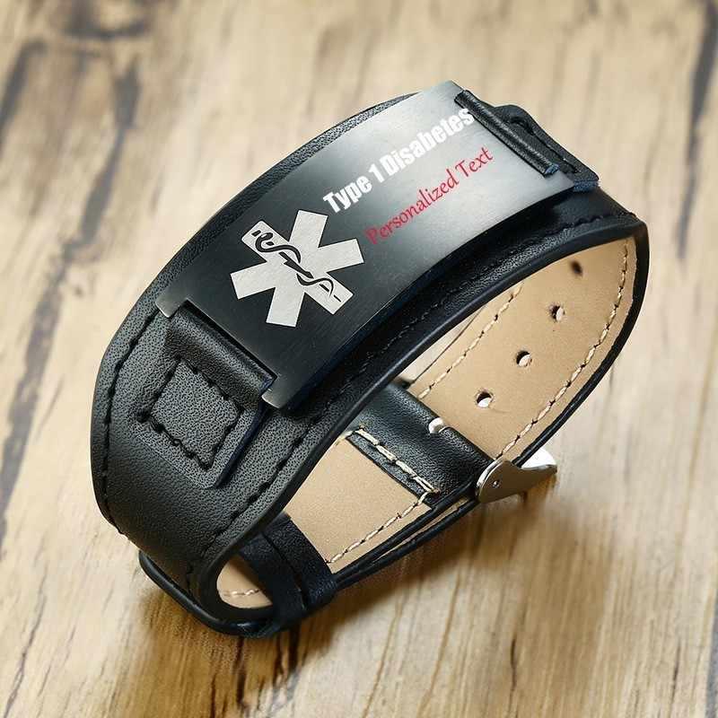 """Personalizado pulseira de couro genuíno dos homens preto diabetes pulseira de aço inoxidável livre gravura masculino wristebands ajustável 8.7"""""""