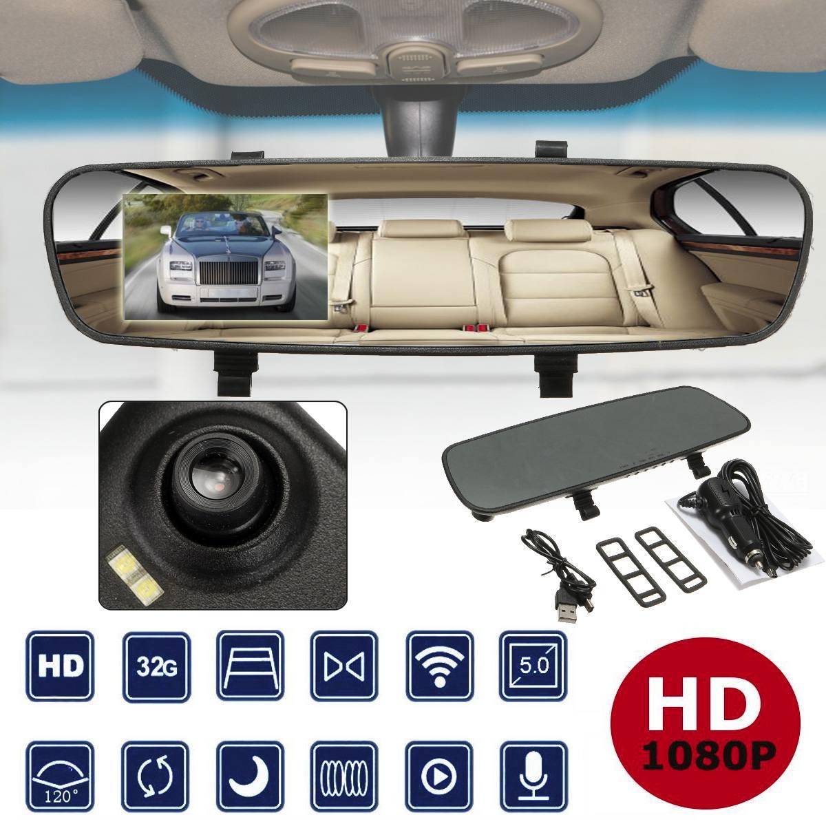 2.4'' 720P HD Rearview Smart Mirror Camera Monitor Dashboard Cam DVR Recorder 1