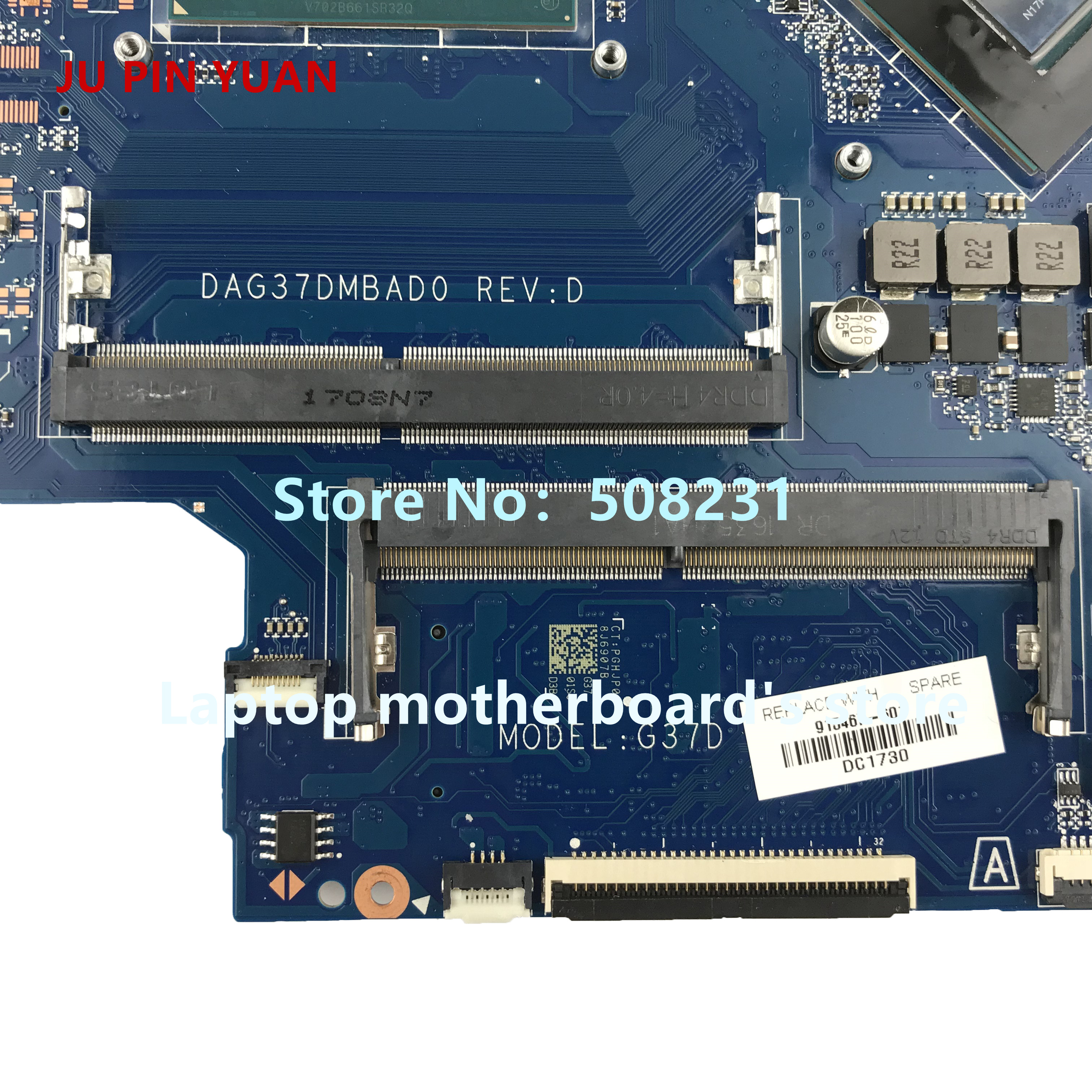 US $358 0 | JU PIN YUAN 915467 601 915467 001 mainboard for HP NOTEBOOK 17  AB 17 W 17 AB292MS laptop motherboard with 1050 4GB i7 7700HQ -in Laptop