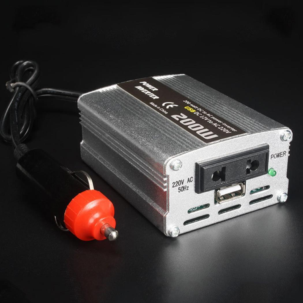 200W Car Power Inverter Adapter Charger Voltage Converter DC 12V to AC 220V USB 5V Auto Car Power Inverter 12v 220v with USB