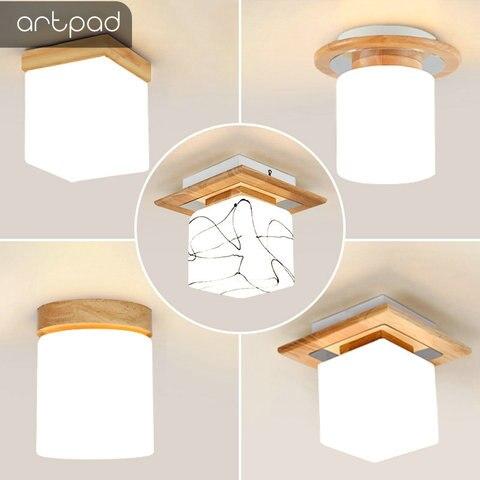 natureza madeira nordic lampada do teto lampadas de teto luz cubo levou montagem em superficie