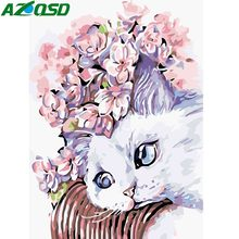 AZQSD Modern DIY Cartoon Oil Painting By Numbers Cat Animals Wall Art Home Decoration Hand Painted Canvas Wall Picture YHGC160(China)