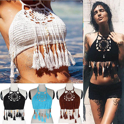 Women Crochet Lace Bralette Knit Bra Boho Beach Bikini Halter Cami Tank Crop Top WHolesale