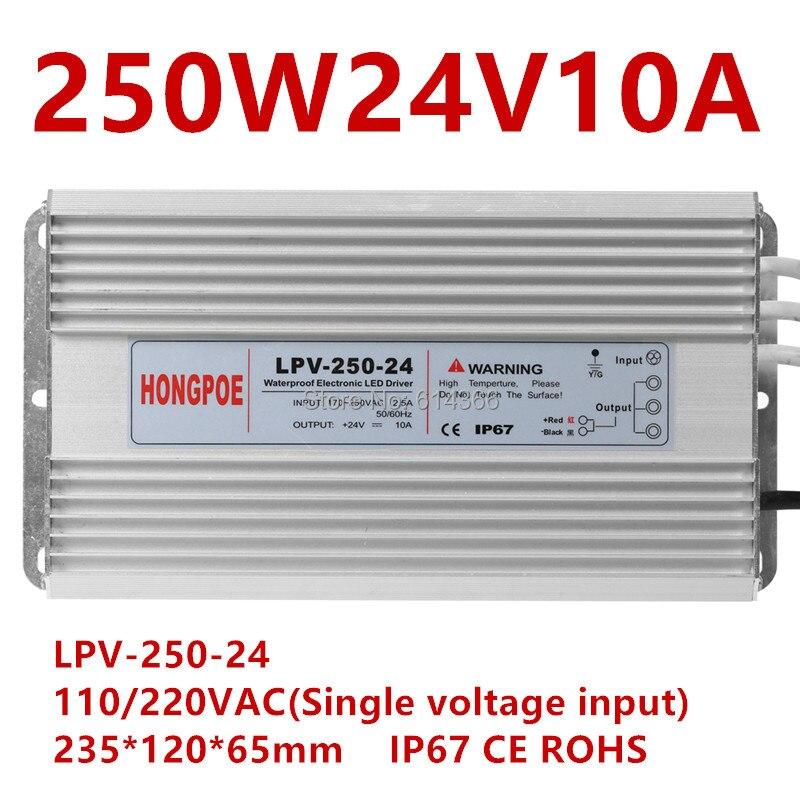1pcs 12 24 Waterproof IP67 LED Driver V / 12V 24 V 250 W Power supply for LED strip light 12V 20A / 24V 10A
