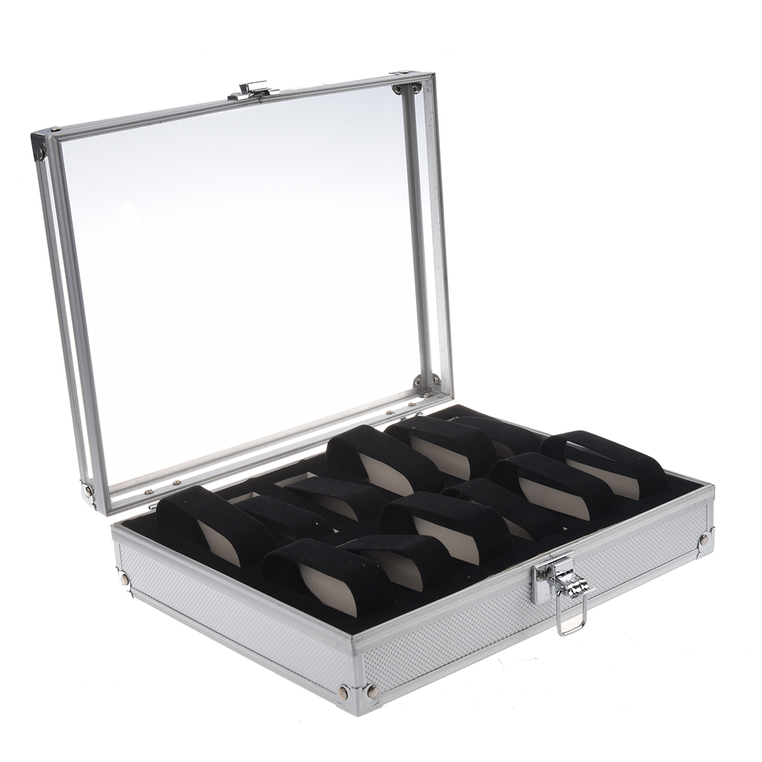 Aluminum 12 Wristwatch Watch Showcase Display Storage Case BoxAluminum 12 Wristwatch Watch Showcase Display Storage Case Box