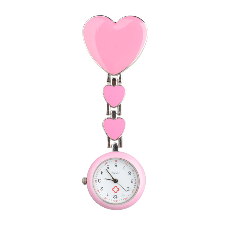 Shellhard Women Chic Heart Shape Cute Watch 7 Colors Pendant Clip-On Brooch Fob Pocket Analog Alloy Quartz Nurse Watches