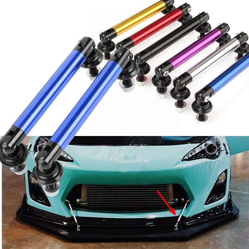 2 Stuks 75 Mm Auto Bumper Protector Lip Staaf Splitter Strut Tie Bar Ondersteuning Voor Achter Universal