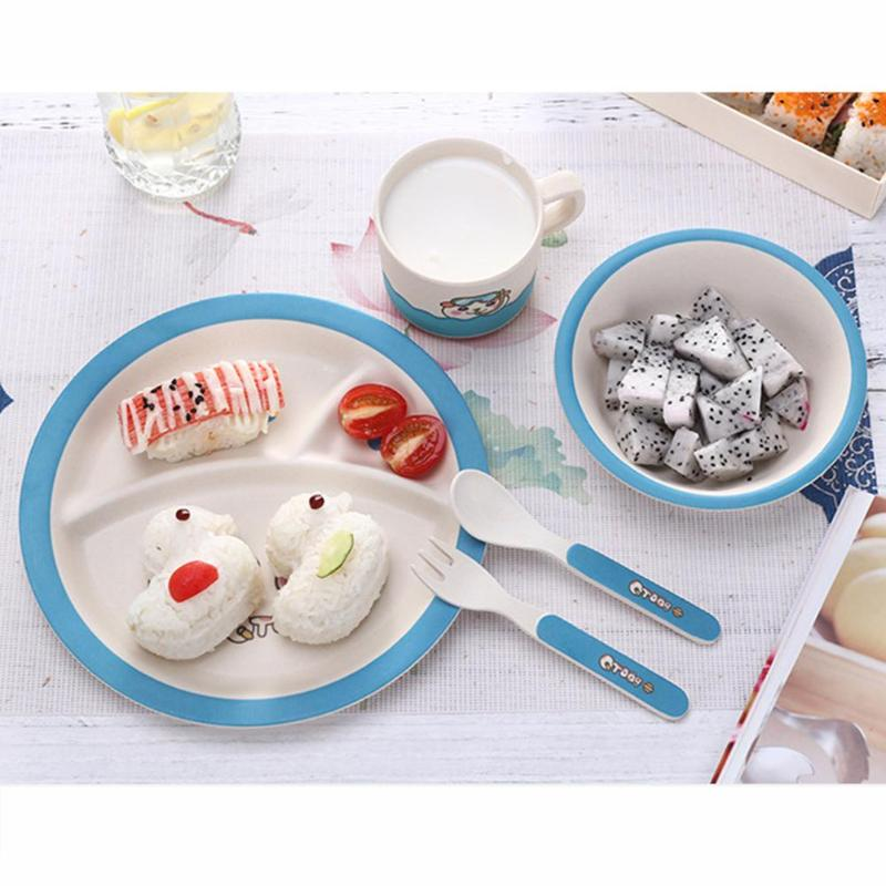 Baby Feeding Bowl Plate Dishes Fork Spoon Cup 5pcs/Set Children Tableware <font><b>Bamboo</b></font> Fiber <font><b>Kids</b></font> Cartoon Separation Feeding Plate image