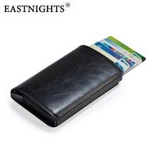EASTNIGHTS Leather ID Card Holder Men Slim Credit Wallet Rfid Metal Business Bank Case Women bag TWB036