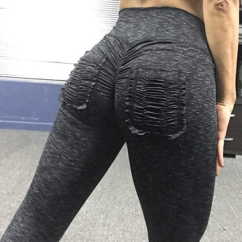 2019 Sexy Booty Scrunch leggings With Pocket High Waist Band Women Slim Skinny Pants Workout Pants Denim Jeans Leggings