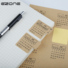 EZONE 2PCS Adhesive Calendar Stickers 2019 Kraft Paper Handwritten Notebook Index Label Sticker Bookmarks Stationery