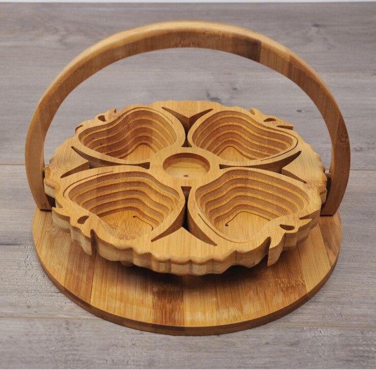 Pliant Apple corbeille à fruits en bambou Portable Pliable panier de rangement Pliant Creative assiette à fruits Écologique décoration d'intérieur