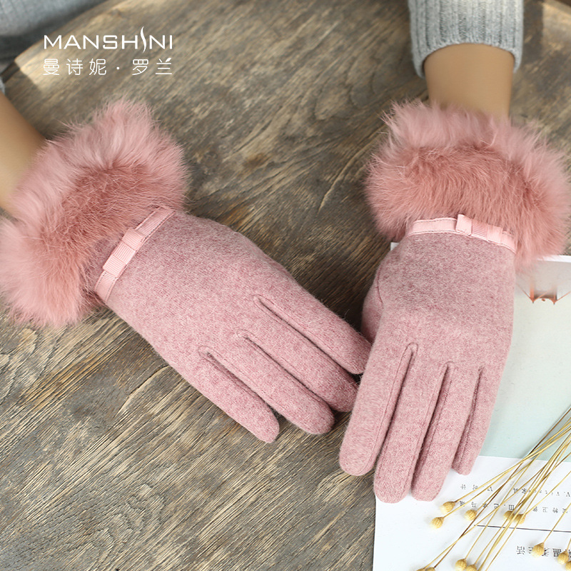 Winter wool gloves woman winter rabbit fur velvet lining thick warm touch screen gloves student telefingers gloves 0821 in Women 39 s Gloves from Apparel Accessories