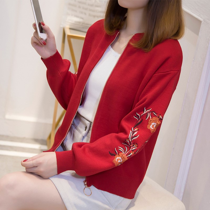 Autumn Women Floral Embroidered Bomber   Jacket   Flower Long Sleeve Knitted Coat Female Lantern Sleeve   Basic     Jacket