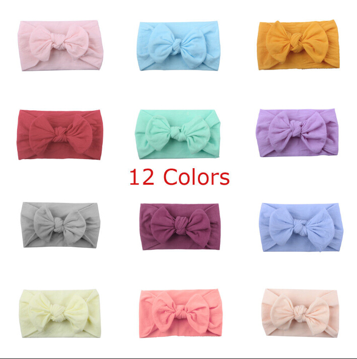 New Stylish Girl Baby Bow Headband Princess Solid Hairbands Accessories Headwear Head Wrap Baby Girl Party Headband Hot Sale