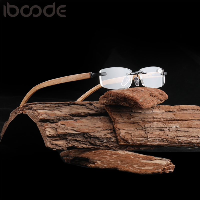 Iboode Men Women Rimless Bamboo Wood Glasses Frame Retro Hyperopia Eyeglasses Anti Reflective Clear Lens Prescription Spectacles
