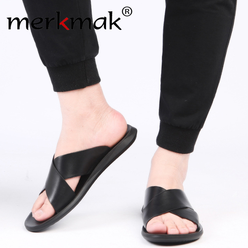 Merkmak Sandals Men Genuine Leather Slippers Summer Brand Soft Comfortable Beach Slippers Men Casual Cross Outdoor Slides