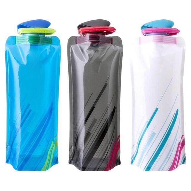 3 Reutilizáveis cor Esportes Viagens Portátil Dobrável Folding Bebida Chaleira Garrafa de Água Ao Ar Livre Garrafa de Água Esporte BPA livre 700 mL