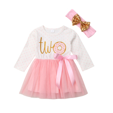 Baby Girl Clothes 1st 2nd 3rd Birthday Tutu Dress Romper Dress with Headband Outfit Set
