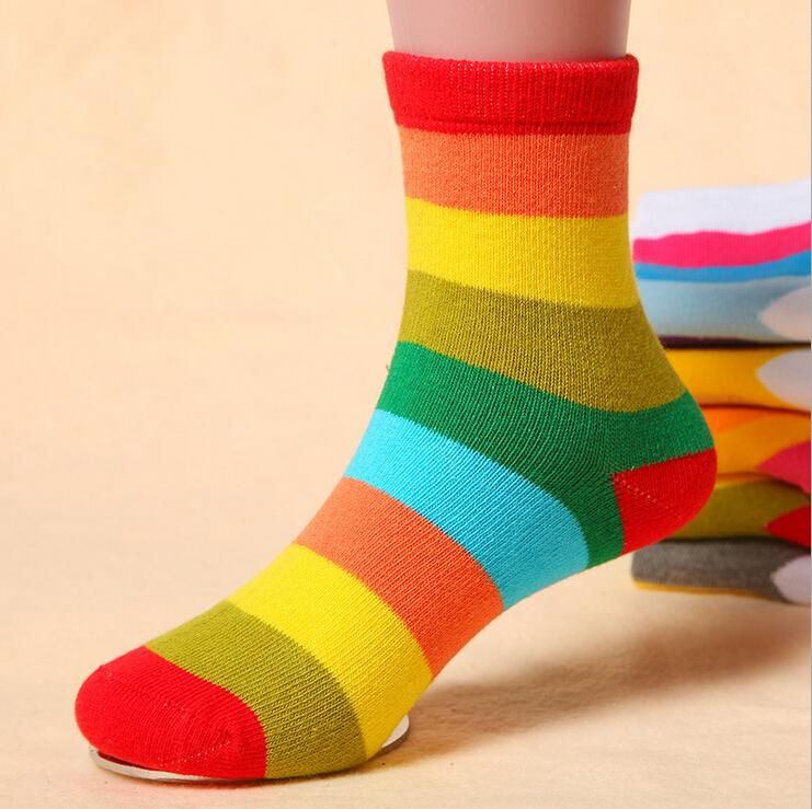 1 Pair Cotton Spring Autumn <font><b>Baby</b></font> <font><b>Girls</b></font> <font><b>Kids</b></font> <font><b>Socks</b></font> Children Warm <font><b>Boys</b></font> Striped Candy Color Rainbow Colorful <font><b>Kids</b></font> Christmas Gift image
