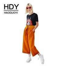 HDY Haoduoyi 2019  Euro-American Street Pure Leisure Broad-legged Button Decorative Pleats Loose Nine-minute Pants