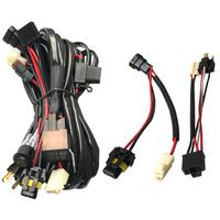 12V Dual Car LED Driving Light Wiring Loom Harness with H4+HB3 Adapters Plug and Play Lighting Wire for the New Car CANBUS