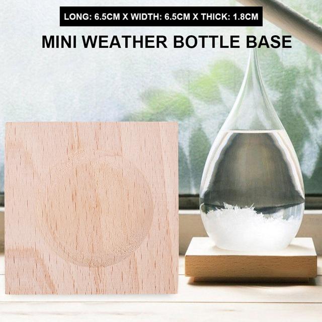 1pc Wood 6.5*6.5*1.8cm Glass Wooden Base Mini Ornaments Barometer Shelf Sturdy Figurines Storm Bottle Bracket Crafts