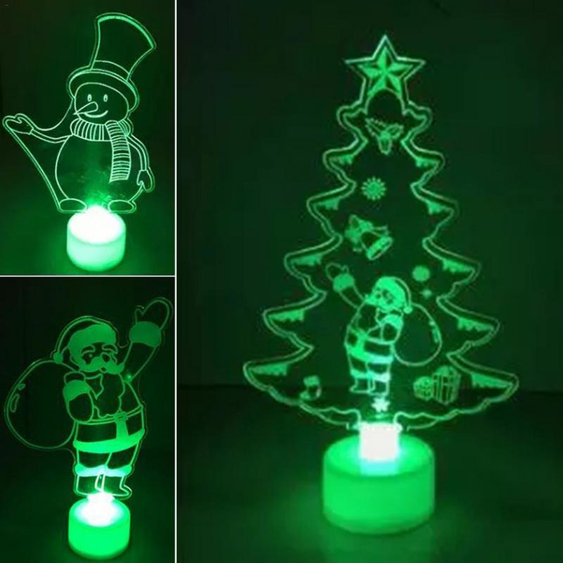 Colorful Christmas Tree Santa Claus Snowman Modeling LED Night Light Fiber Optic Acrylic Lamp With Cyclic Color Change