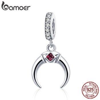 c5b5b5decd5f BAMOER clásico de 100% de Plata de Ley 925 de hadas Luna colgante en forma  de encanto pulseras y collares joyería SCC974