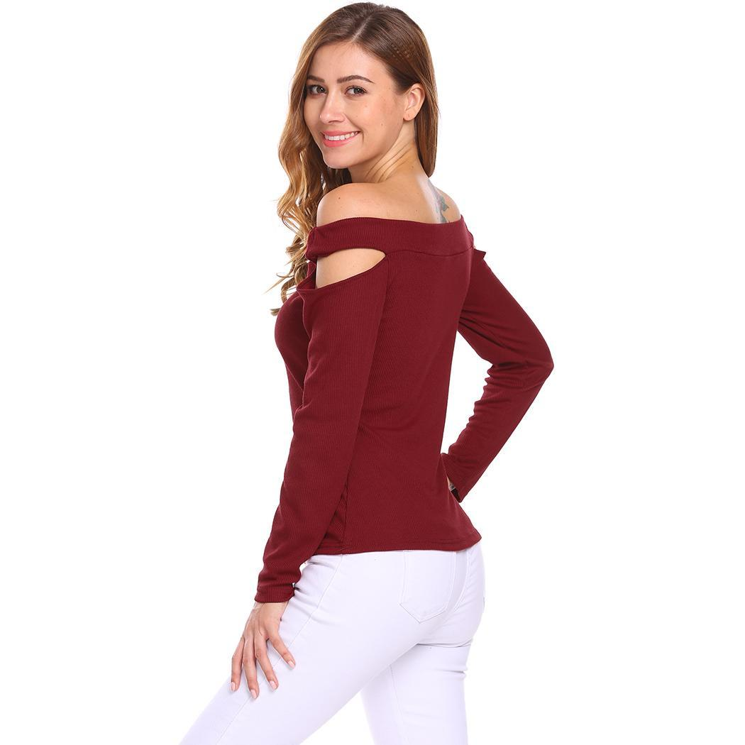 Women Off Shoulder Cut Out Long Sleeve Casual Knitted T-Shirt Tops