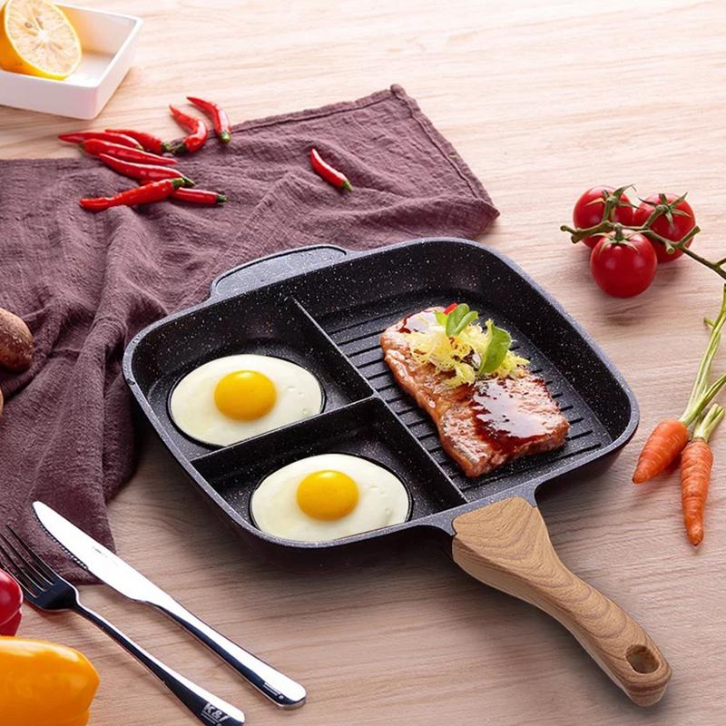 Stone Ceramic Steak Grill Pans Breakfast Frying Eggs Non-Stick Frying Pan Kitchen 3 Grid Multi-function Cooking Pans