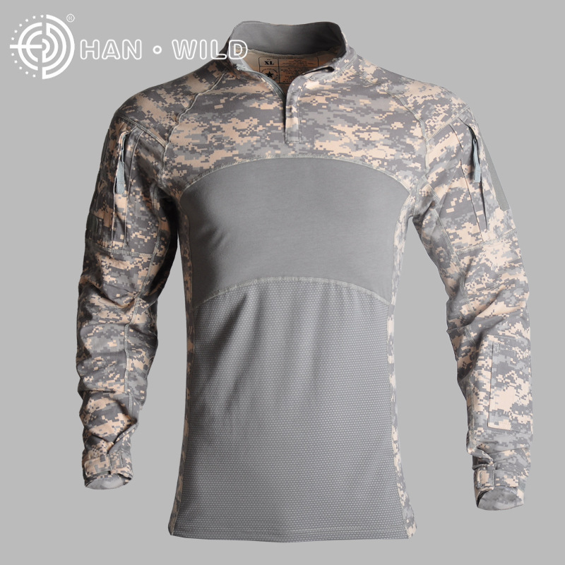 New Outdoor Camouflage tactical Hot t shirt long mens sports suits Cotton 2019 Climb 100% breathable ACU CP tactical jackets - 4