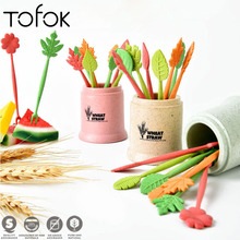 Tofok 8pcs/set Fruit Fork 1pc Holder Wheat Straw Leaves Table Decor Tool Party Cake Salad Vegetable Dessert Kitchen Accessories цена 2017