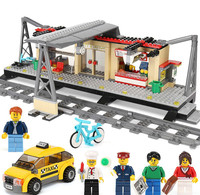 2019 the fit Legoinglys City Busy Train Station with Taxi Building Blocks Bricks Children Educational Toys Christmas for kids