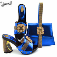 Capputine High Quality Italian Rhinestone Slipper Shoes And Bag Set Nigerian Summer Square Heels Shoes And Bag Set For Party
