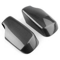 Capa para espelho lateral traseiro do carro  acabamento para bmw e46 1998 1999 2000 2001 2002 2003 2004 2005 carbono plástico abs da fibra 2 peças