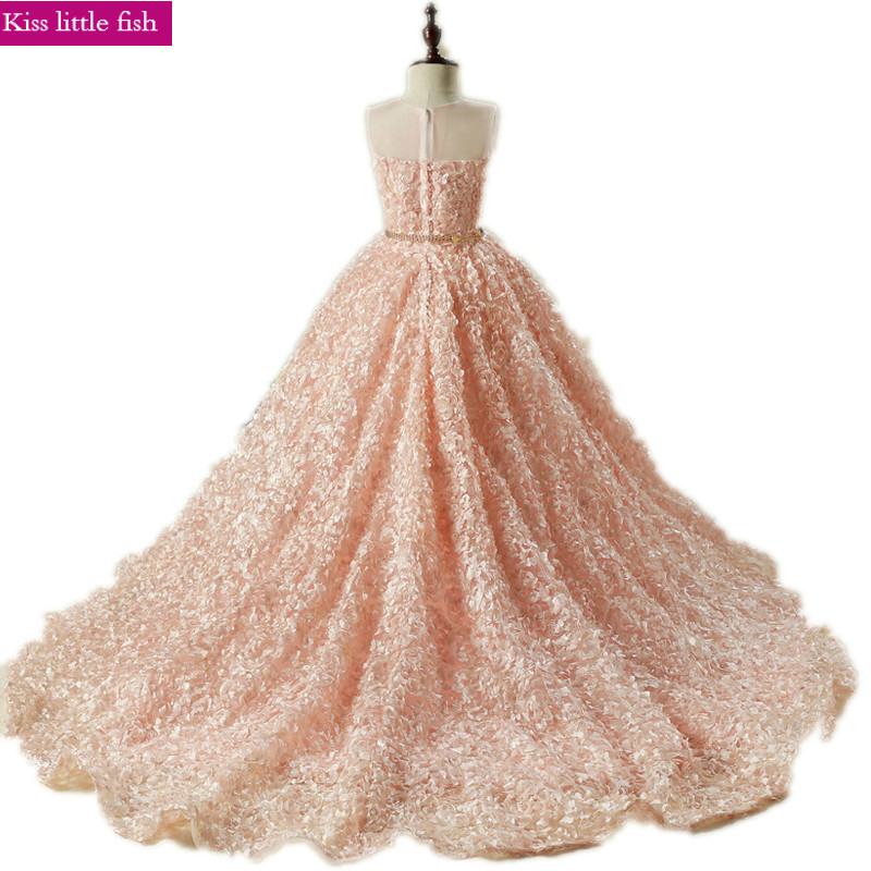 Free shipping Pink long Trailing flower girl dresses Girls dresses for party and wedding Pageant dresses