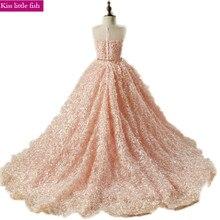 Бесплатная доставка, длинные платья розового цвета со шлейфом и цветами для девочек, платья для вечеринки и свадьбы, платья для девочек с бесплатным поясом