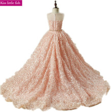 Free shipping Pink long Trailing flower girl dresses Girls dresses for party and wedding Pageant dresses for girl Free send belt