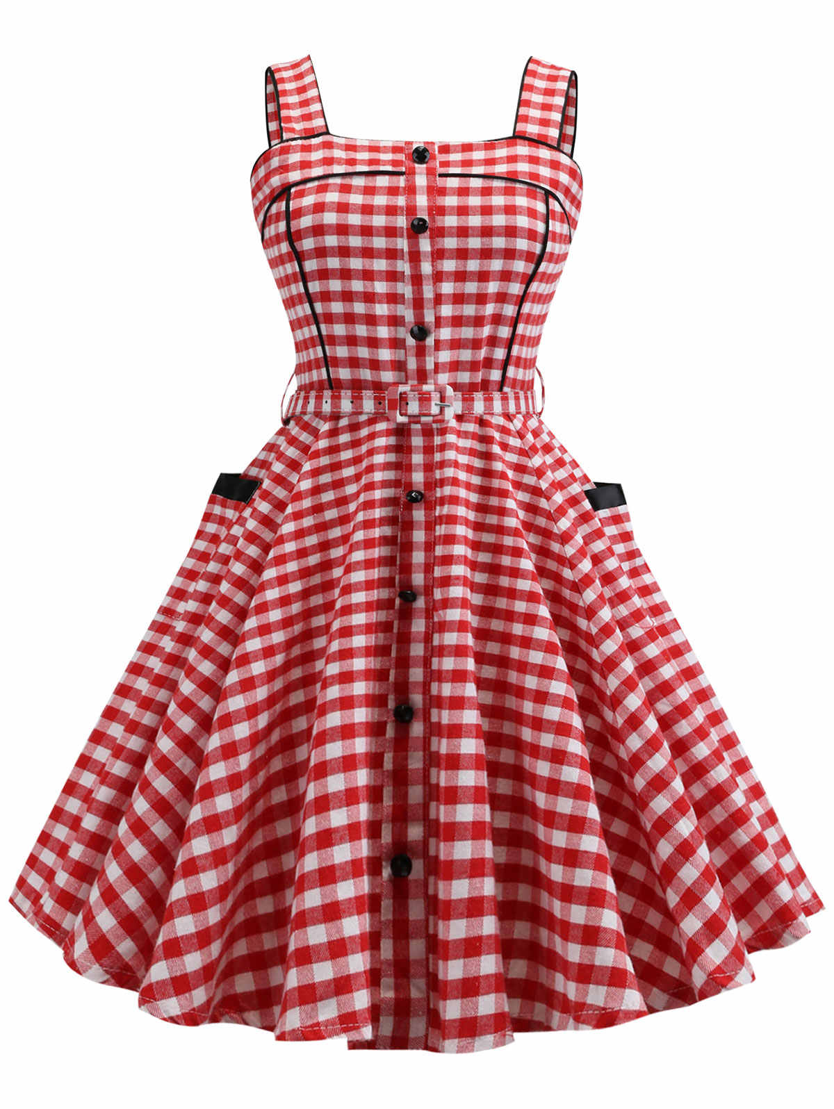 Wipalo Women Vintage Dress Button Spaghetti Strap Plaid Dress Sleeveless High  Waist Belted A-Line 4259a2b112cc