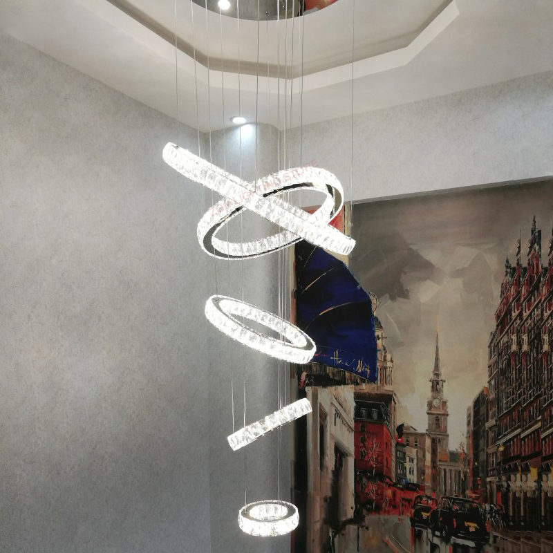 Modern living room crystal chandelier dining room double entry revolving staircase chandelier ring ring ceiling Led chandelier Pendant Lights     -
