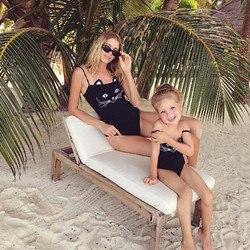 Купальник для мамы и дочки, женский, детский, для девочек, с милым котом, Цельный купальник, купальный костюм, бикини, пляжная одежда 3