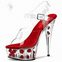 Moraima Snc 2019 New Design Crystal Shoes Series 15cm Heels Clear Platform Woman Summer Shoes T stage Show Stilettos Sexy Sandal